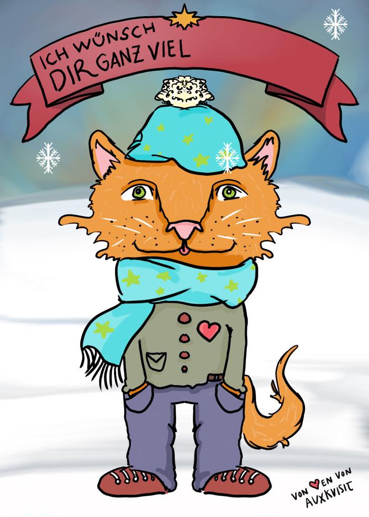 Weihnachtskarte mit Katzenfuchs Peter in maximaler Druckqualität DIN A5, Freebies