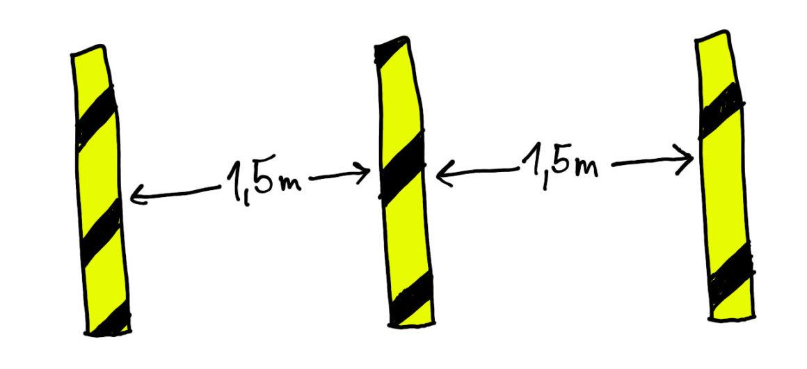 Bitte 1,5 Meter Abstand halten!