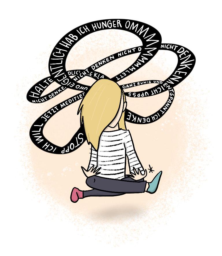 Gedankenwirrwarr macht Meditieren für Anfänger schwer